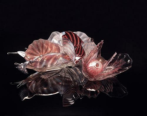 Dale Chihuly, Red Mahogany and Birch Persian Set with Ebony Lip Wraps  89.1610.p13 1989, Glass