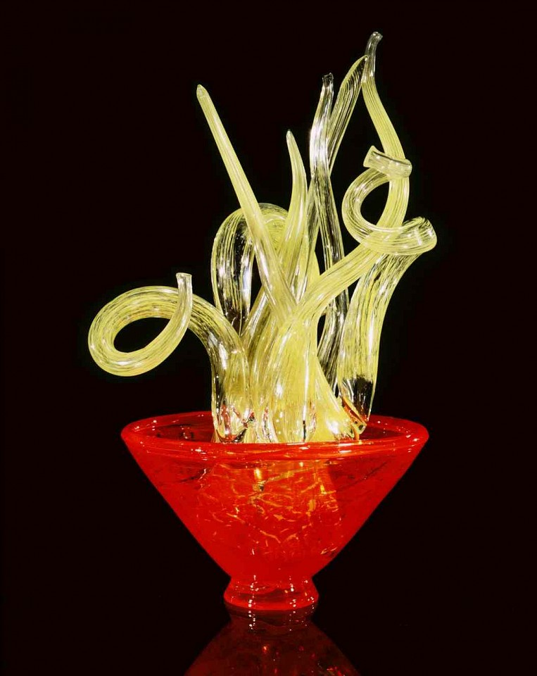Dale Chihuly, Arabian Orange Piccolo Venetian with Serpent Green Tendrils 1997, Glass